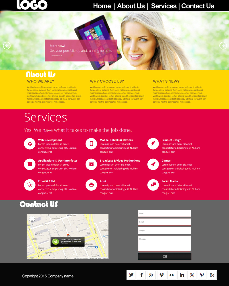 single page website - Template